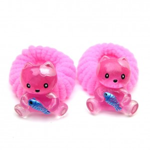 Elastique/mousse enfant chat 2pcs - rose