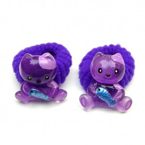 Elastique/mousse enfant chat 2pcs - violet