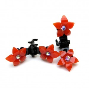Mini pince crabe fleur en strass 2pcs - orange