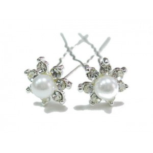 Epingle cheveux en perles 2pcs - blanc
