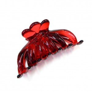 Pince cheveux crabe simple 8.5cm - rouge