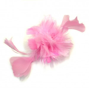 Broche fleur / pince cheveux mariage plumes taille 20cm - rose