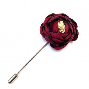 Epingle à chapeau et étoles / broche fibule fleur bordeaux